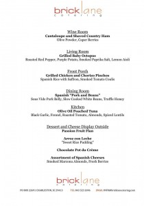 Lardie Wine Dinner menu
