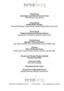 Lardie Wine Dinner menu