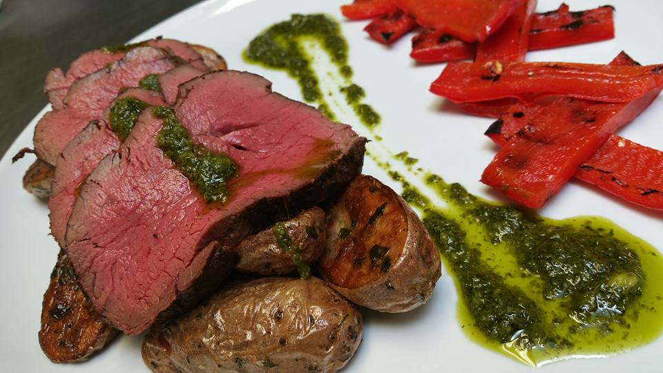 Argentine Grilled Tenderloin, White Truffle Herb Roasted Fingerling Potatoes, Chimichurri Sauce, Grilled Red Pepper
