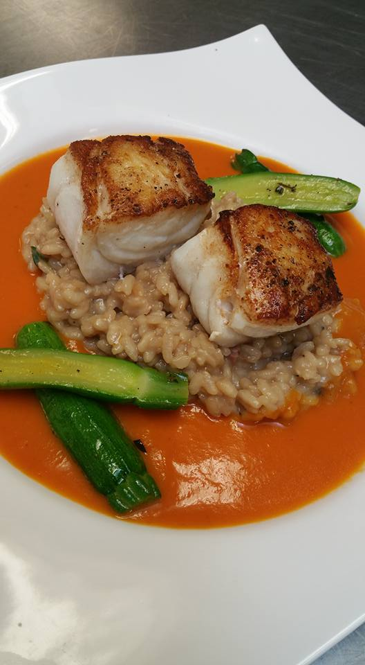 Pan Seared Local Grouper, Porcini Mushroom Risotto, Tomato Coulis, Sauteed Baby Zucchini